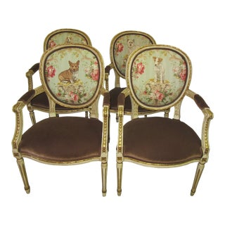 1950's Vintage Italian Lee Jofa Dog Upholstery Hand Painted and Carved Armchairs- Set of 4 For Sale