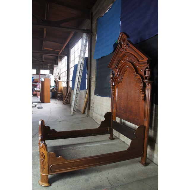 Antique Victorian Carved Walnut Highback Full Bedframe For Sale - Image 4 of 13