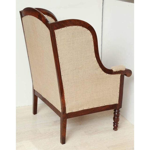 Tan Early 19th Century French Walnut Upholstered Wing Chair For Sale - Image 8 of 10