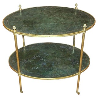 20th Century Regency Brass and Tooled Leather Side Table
