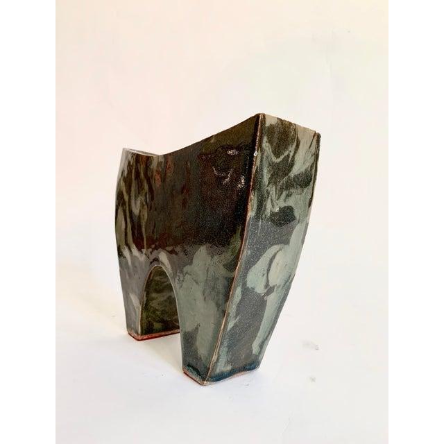 Abstract Vintage Ceramic Ikebana Sculptural Vase For Sale - Image 3 of 10
