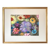 Image of Vintage Mid Century Watercolor Abstract of Flowers For Sale