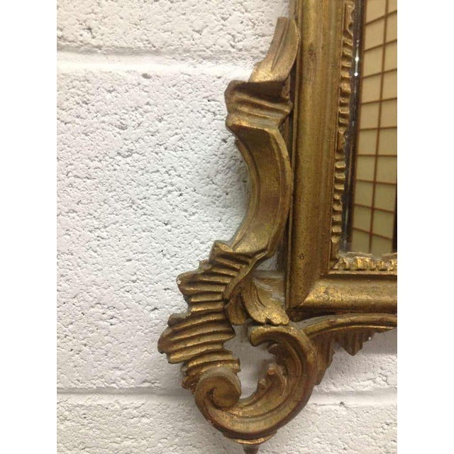 Mid 19th Century Pair of French Antique Hand-Carved Wooden Gilded Mirrors For Sale - Image 5 of 6
