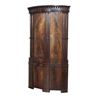 English Regency Grand Mahogany Corner Cabinet Circa 1825 For Sale