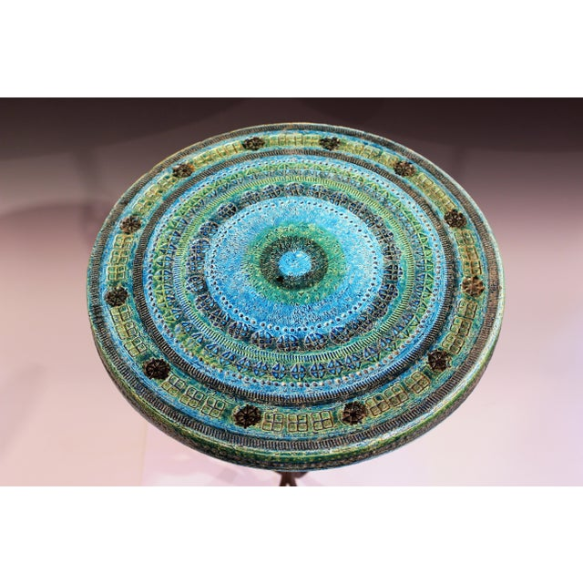 Blue 1960s Bitossi Rimini Blue Londi Italian Pottery Wrought Iron Ceramic Table For Sale - Image 8 of 10