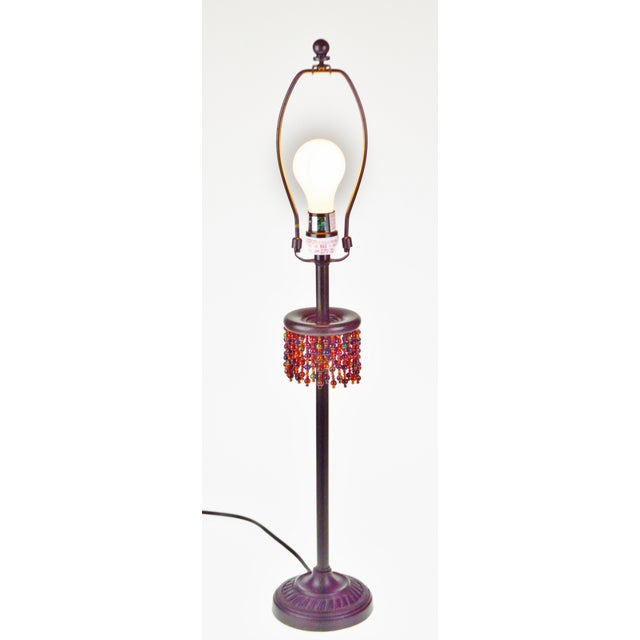 Metal Metal Oil Rubbed Bronze Finish Beaded Candlestick Table Lamp For Sale - Image 7 of 7