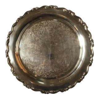 1950s Engraved Silver Plate Platter For Sale