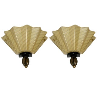 1950s Aureliano Toso Gold Fan-Shaped Murano Glass Sconces - a Pair For Sale