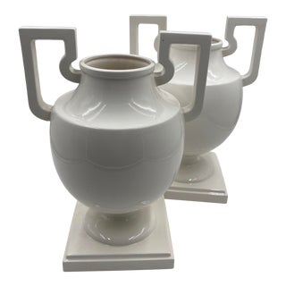 Fitz and Floyd White Urns With Handles/A Pair For Sale