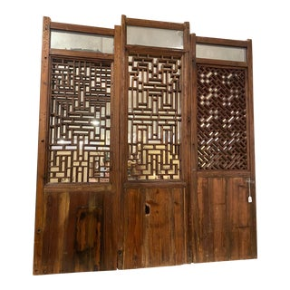 Queen Size Headboard Made From Vintage Chinese Doors For Sale