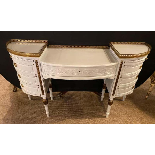 Louis XVI Style Ladies Vanity / Writing Desk in Dove Gray Lacquer For Sale - Image 10 of 13