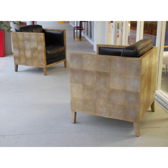 Pair of Jean-Michel Frank Style Shagreen Club Chairs - Image 5 of 8