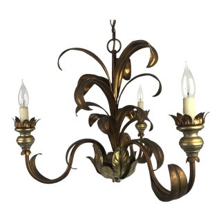 French Mid-Century Gilt Chandelier For Sale