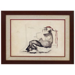 Jorge Zeno Abstract Pen and Ink With Watercolor For Sale
