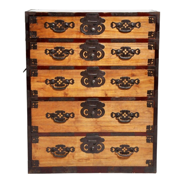 Japanese Two Piece Tansu Chest With Hand Forged Hardware For Sale