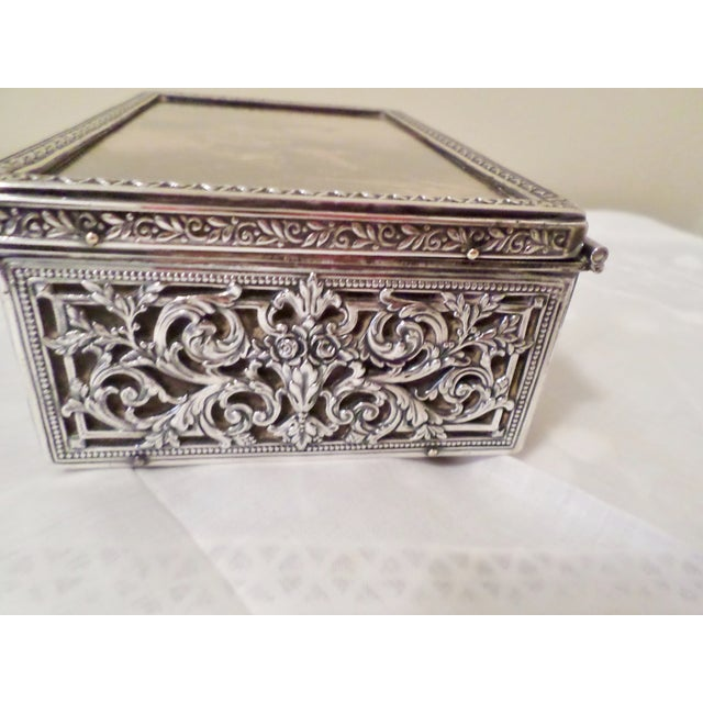Late 19th Century Antique Baroque Sterling Silver Music Box Trinket Box For Sale - Image 5 of 11