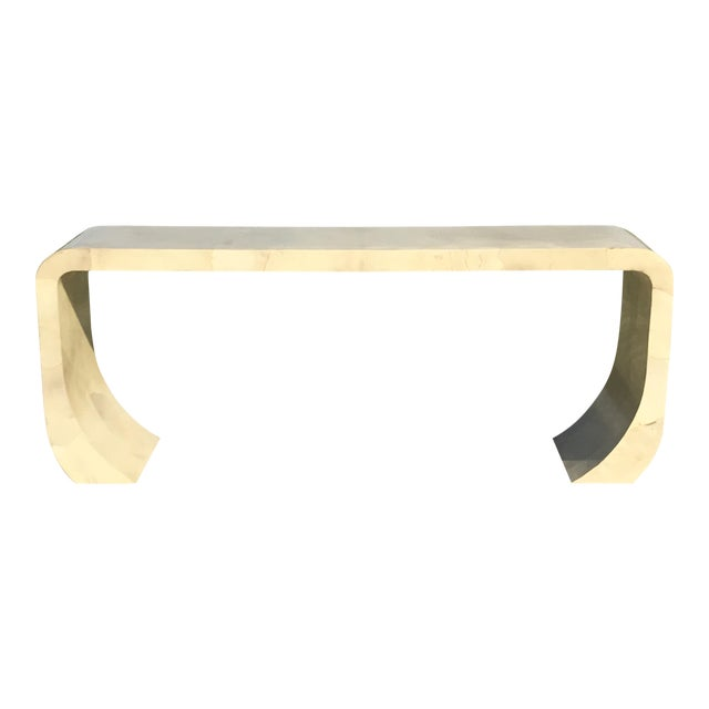 Karl Springer Goatskin Lacquered Waterfall Console For Sale