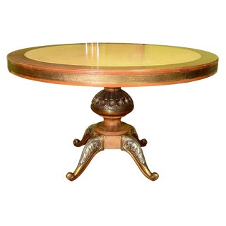 1950s Italian Center Table With Inset Marble Top and Elaborate Wood and Chrome Base For Sale