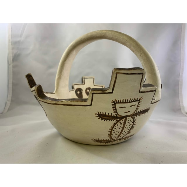 1970s Jennie Laate Southwestern Prayer Bowl With Handle For Sale - Image 5 of 13