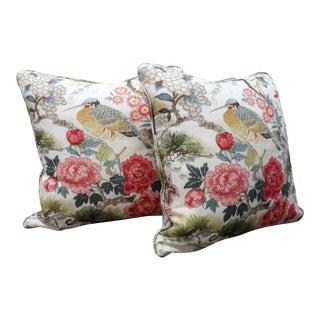 Chinoiserie Scalamandre Shen Yang Linen Pillows - a Pair For Sale