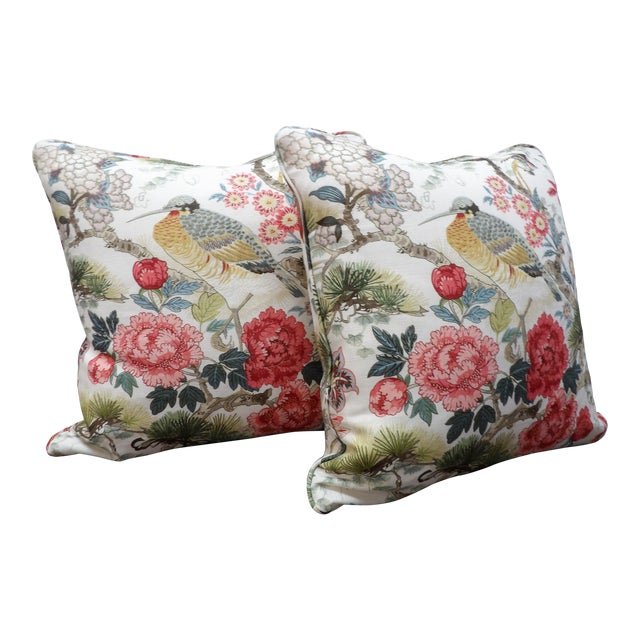 Chinoiserie Scalamandre Shen Yang Linen Pillows - a Pair For Sale