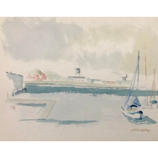 1980s Harbor Scene Watercolor by Bergh For Sale