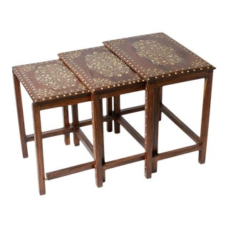 Vintage Middle Eastern Wood & Bone Inlay Nesting Table, Set of 3 For Sale