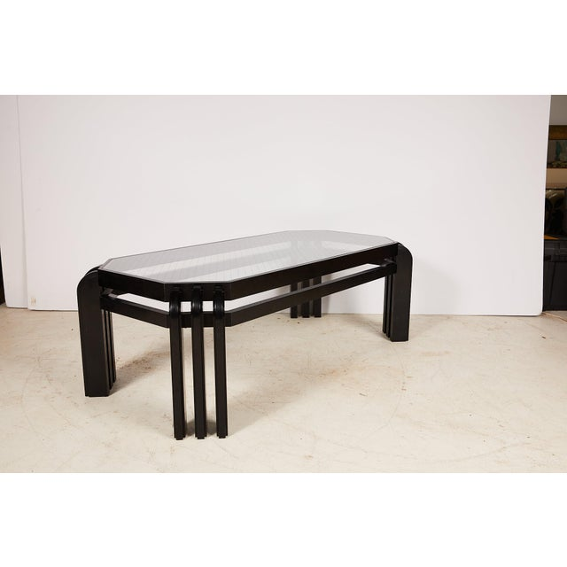 Vintage Black Lacquer Cocktail Table With a Wired Glass Top For Sale In Atlanta - Image 6 of 13
