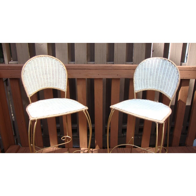 Gilt Wicker Wrought Iron Bar Stools - A Pair - Image 5 of 11