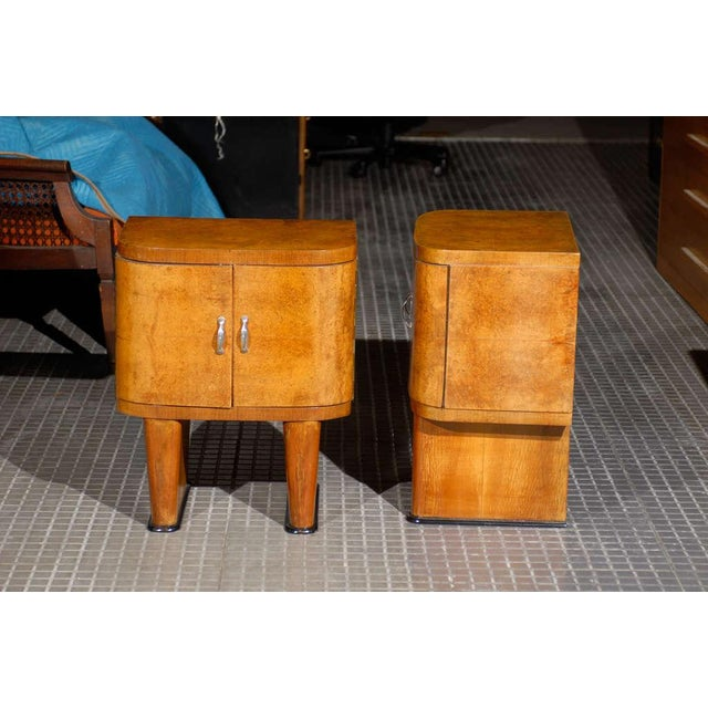 Exquisite Restored Pair Of Art Deco Small Cabinets In Walnut For Sale In Atlanta - Image 6 of 10