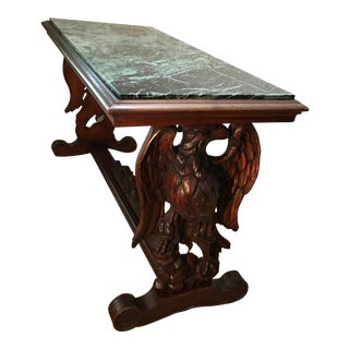 Carved Eagle Wood Coffee Table With Marble Top For Sale