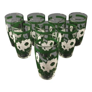 Vintage Late 20th Century Green and White Floral Glassware - Set of 8