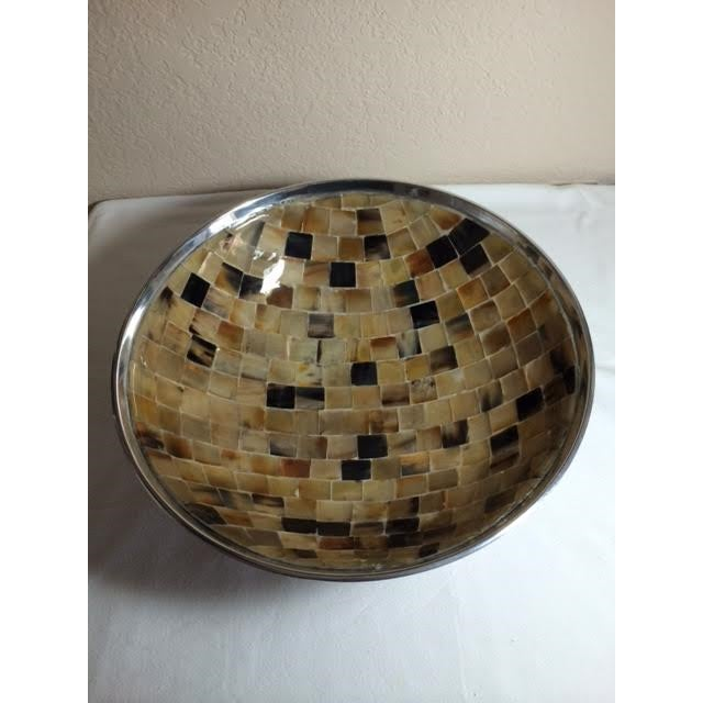 Shell Mosaic & Metal Tabletop Bowl - Image 4 of 5