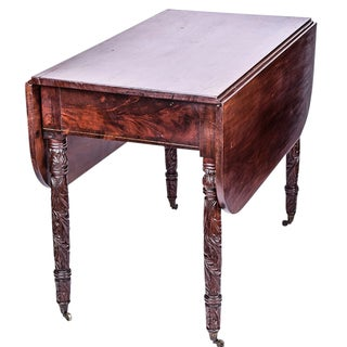 Mahogany Carved Pembroke Table For Sale
