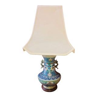 Antique Blue Cloisonné Vase Lamp With Original Shade For Sale