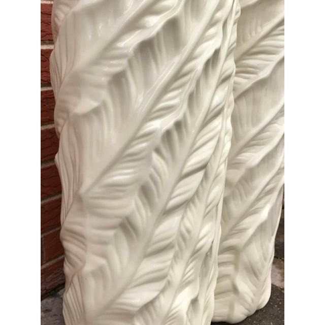 White Vintage Tropical Leaf Design Tall White Ceramic Floor Vases - a Pair For Sale - Image 8 of 9