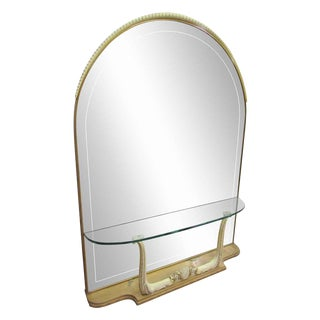 Arched Mirror with Built in Glass Shelf & Horn Motif For Sale