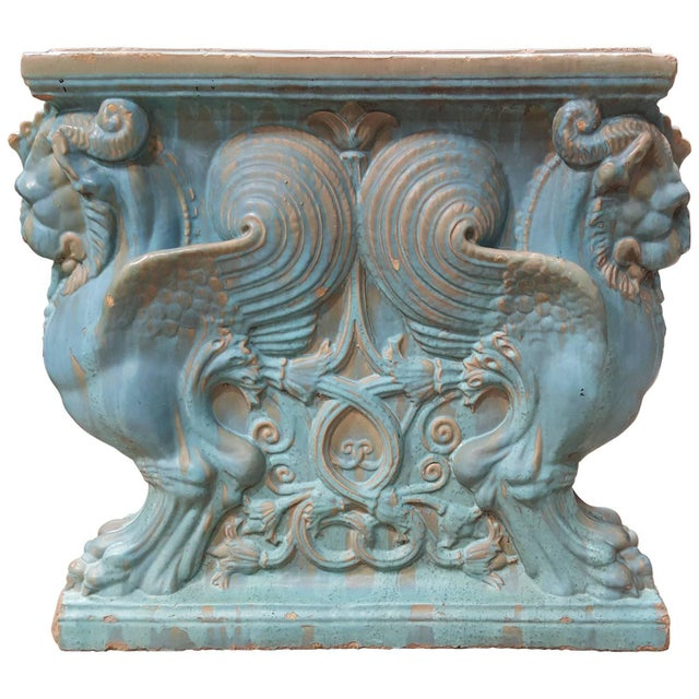 Winged Lion Pedestal by Gladding McBean Pottery For Sale