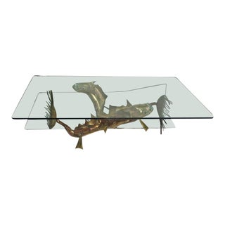 Late 20th Century Christian Techoueyres Sculpted Bronze Sea Creatures Coffee Table For Sale