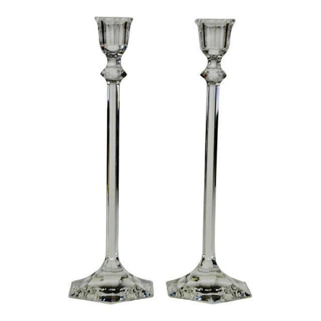 Vintage Glass Candlesticks - a Pair For Sale - Image 11 of 12