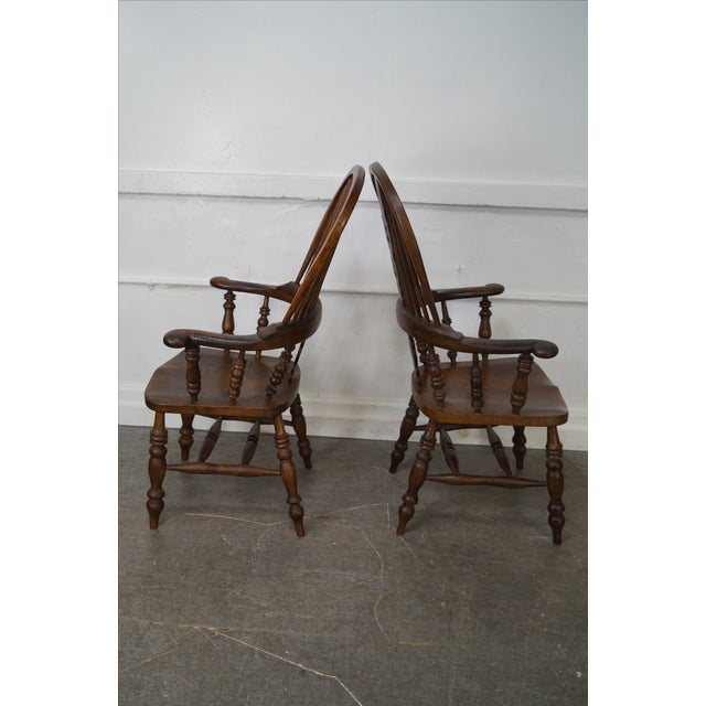 Antique 19th C. English Yew Wood Windsor Arm Chairs - Pair - Image 3 of 10