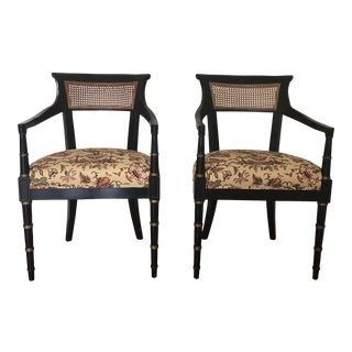 Vintage Black & Gold Regency Arm Chairs- a Pair For Sale