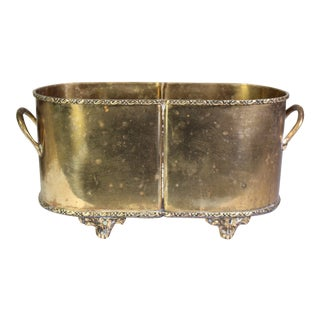 Hollywood Regency Brass Footed & Handled Wine Cooler or Jardinière For Sale