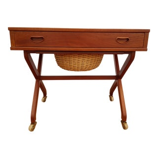 Vintage Danish Teak Wood Sewing Table For Sale