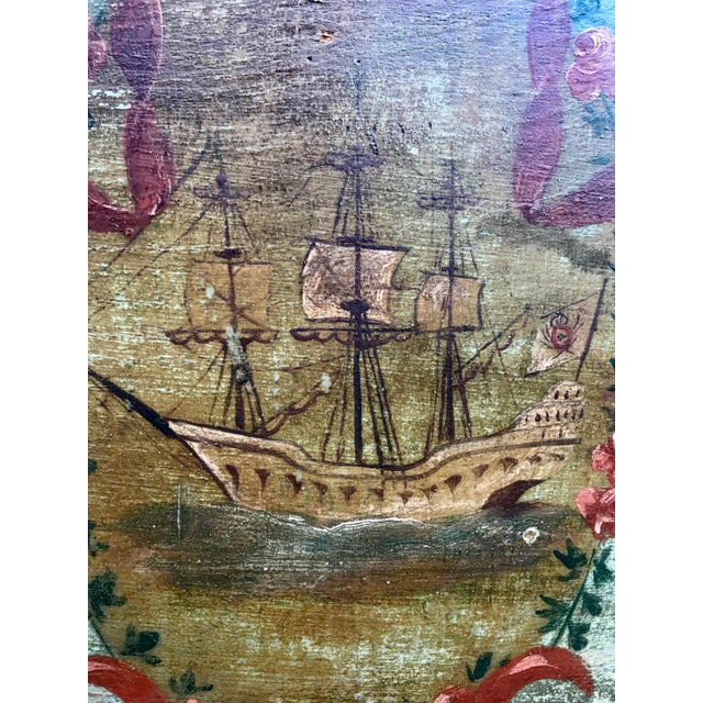 Late 19th Century 19th Century New England Hand Painted Wooden Headboard For Sale - Image 5 of 12