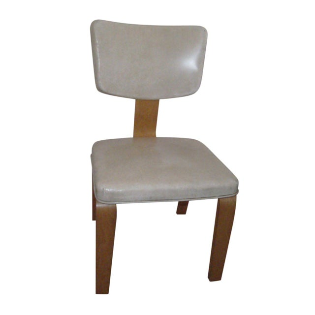 Vintage Ivory Vinyl and Birch Bentwood Chair For Sale
