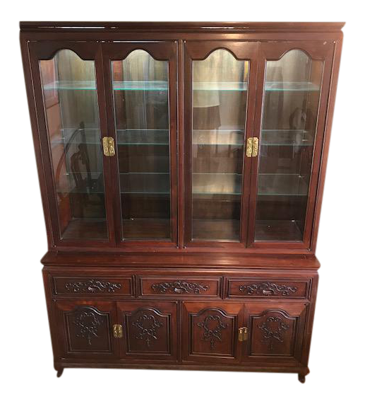 Genial Queen Anne Rosewood Two Piece Hutch China Cabinet