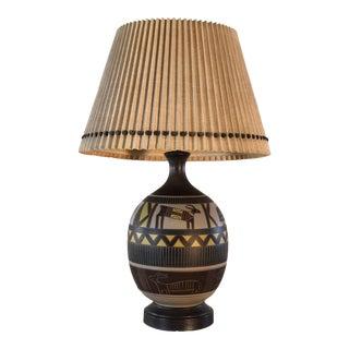 1970s Vintage Brutalist Style Aztec Ceramic Table Lamp For Sale