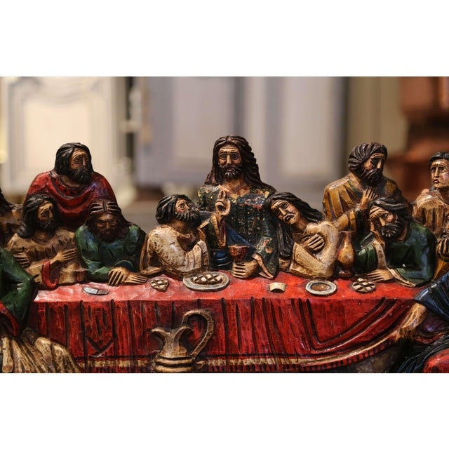 """Mid 20th Century Mid-20th Century Spanish Carved Polychromed and Gilt """"Last Supper"""" Sculpture For Sale - Image 5 of 10"""