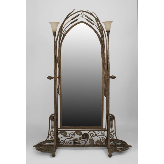 Brown French Art Deco Wrought Iron Cheval Mirror For Sale - Image 8 of 8